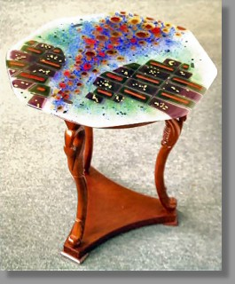 This Octagon Shaped Fused Glass Table Top Is Fixed To A Handsome Carved  Mahogany Base.